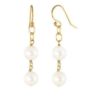 14k Gold over Silver Freshwater Pearl Dangle Earrings (8-8.5 mm)