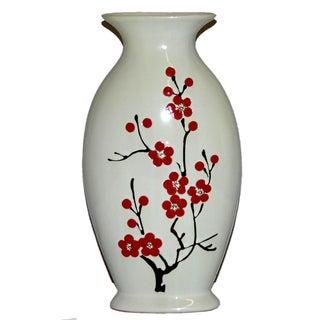 Ceramic Hand-Painted Cherry Blossom Vase