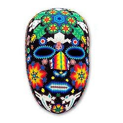 Handcrafted Beadwork 'Marra Rrurabe' Huichol Mask (Mexico)