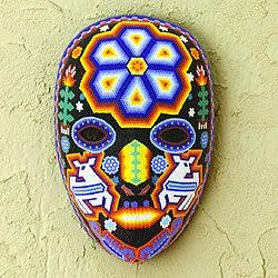 Handcrafted Beadwork 'Shaman Deer' Huichol Mask (Mexico)
