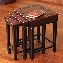 Set of 3 Mohena Wood and Leather 'Colonial Guard' Tables (Peru)