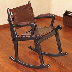 Mohena Wood and Leather Rocking Chair 'Inca Memories' (Peru)