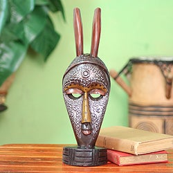 Handcrafted Sese Wood 'Boli Protection' African Mask (Ghana)