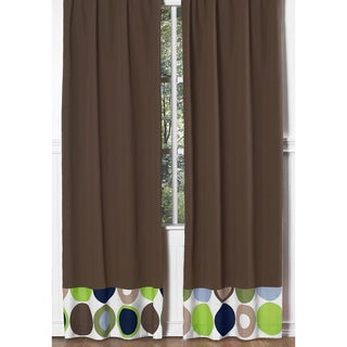 Brown With Pieced Dots Modern 84-inch Curtain Panel Pair