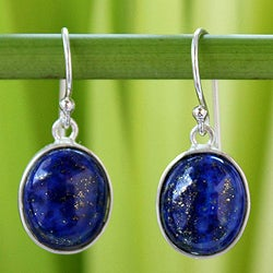 Sterling Silver 'Majestic Blue' Lapis Lazuli Earrings (Thailand)