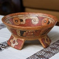 Handcrafted Ceramic 'Maya Offering' Centerpiece (El Salvador)