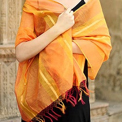 Handcrafted Cotton and Silk 'Madhya Pradesh Sunset' Shawl (India)
