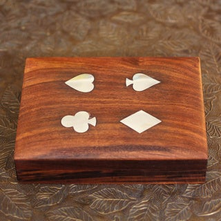 Inlaid Wood 'Four Suits for Luck' Card Set (India)