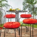 15-inch Red Round Outdoor Bistro Chair Cushion (Set of 4)