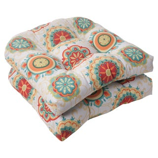 Pillow Perfect Outdoor Fairington Aqua Wicker Seat Cushion (Set of 2)