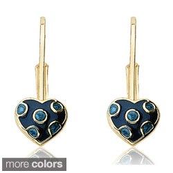 Little Miss Twin Stars Gold Overlay Enamel Polka Dot Heart Earrings