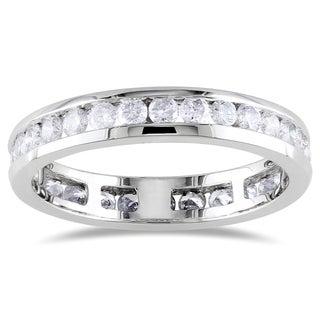 Miadora 14k White Gold 1ct TDW Certified Diamond Channel Eternity Ring (G-H, I1)