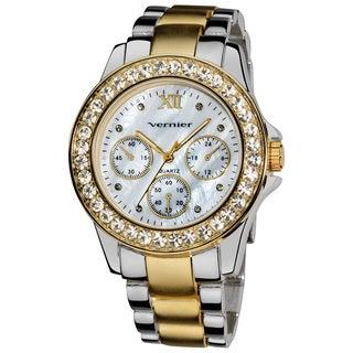 Vernier Ladies Dazzling Boyfriend Mother of Pearl Dial Faux-Chrono Bracelet Watch