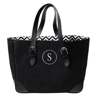 Personalized Black/ White Chevron Buckle Tote Bag