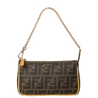 Fendi Logo Coated Canvas Pouchette Bag