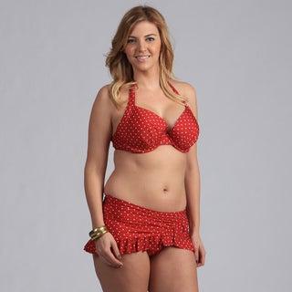 Jantzen Women's Polka-dot Halter Bikini with Ruffle Skirted Bottom