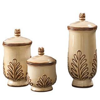 White/ Mocha Ceramic Urn (Set of 3)