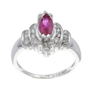 Sterling Essentials Silver Red-and-white Marquise Cubic Zirconia Ring