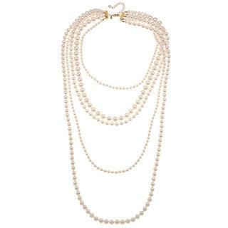 Roman Cream Faux Pearl Multi-strand 36-inch Necklace
