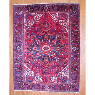 Persian Hand-knotted Heriz Red/ Black Wool Rug (9'9 x 12'8)