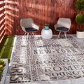 Waverly Sun N' Shade by Nourison Graphite Indoor/Outdoor Rug (7'9 x 10'10)