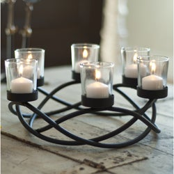 Round Waves Black Wroght Iron Candleholder/ Centerpiece