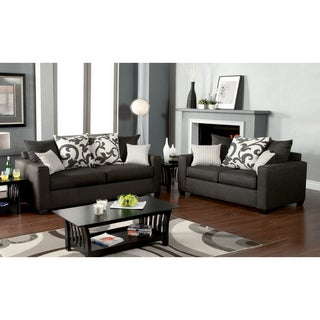 Furniture of America Aizo Modern Gray Fabric 2-Piece Sofa Set