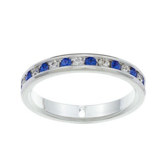 City by City City Style Silvertone Blue and Clear Cubic Zirconia Eternity Ring