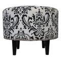 Sole Designs Sophia Traditions Black/ White Round Ottoman
