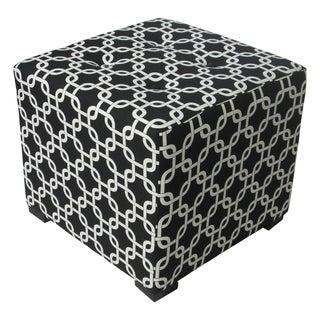Sole Designs Black/White Geometric-Print Tufted Ottoman