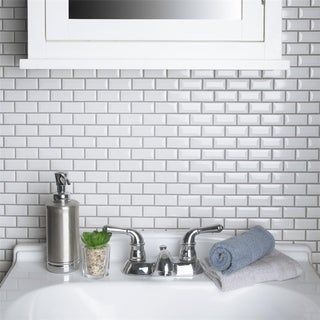 SomerTile 12 x 12-inch Victorian Subway Beveled White Porcelain Mosaic Floor and Wall Tile (Case of 10)