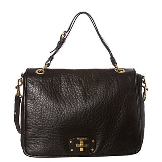 Miu Miu Black Pebbled Nappa Leather Messenger Bag