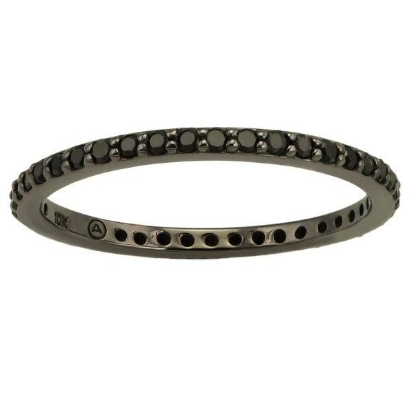 Beverly Hills Charm 10k Black Gold 1/3ct TDW Black Diamond Eternity Band Ring