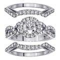 14k or 18k White Gold or Platinum 2 3/5ct TDW Diamond Halo Bridal Ring Set (F-G, SI1-SI2)