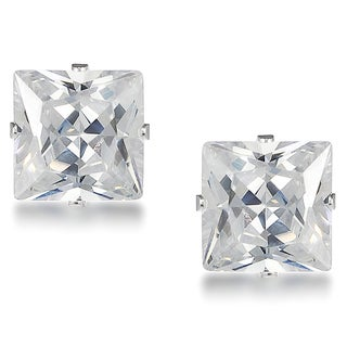 Journee Collection Sterling Silver Cubic Zirconia Square 8-mm Stud Earrings