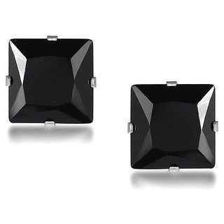 Journee Collection Sterling Silver Black Cubic Zirconia Square 8-mm Stud Earrings