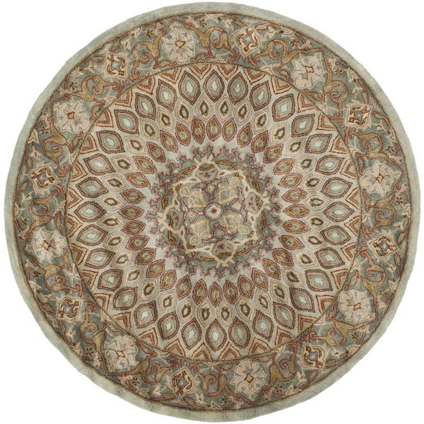 Safavieh Handmade Heritage Medallion Blue/ Grey Wool Rug (3'6 Round)