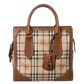 Burberry 'Classic Honeywood' Small Haymarket Check Tote Bag