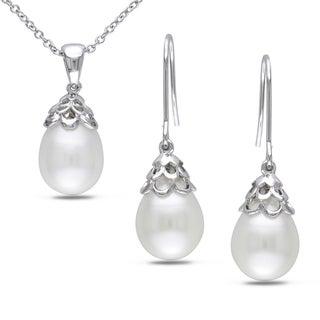M by Miadora Silvertone Freshwater Pearl 2-piece Jewelry Set (9-10 mm)
