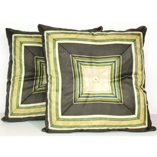 RLF HOME Nigel Stripe Olive Decorative Toss Pillows (Set of 2)