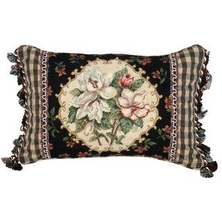 Magnolia Petit-Point Decorative Throw Pillow