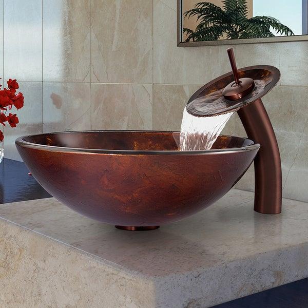 Vigo Brown and Gold Fusion Glass Vessel Sink and Waterfall Oil Rubbed Bronze Faucet Set