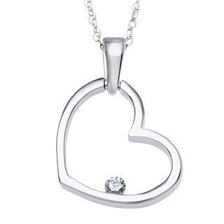 10k White Gold Diamond Heart Necklace