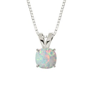 Sterling Silver Cushion-cut Created Gemstone Necklace