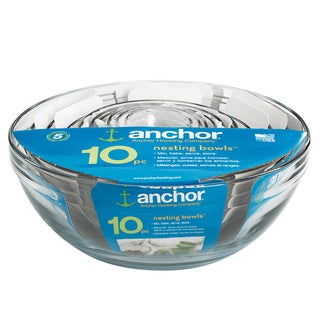 Anchor Hocking 10-piece Glass Mixing Bowl Set