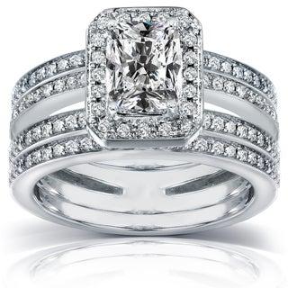 Annello 14k Gold 1 3/5 ct TDW Radiant-cut Diamond Bridal Ring Set (H-I, I1-I2)
