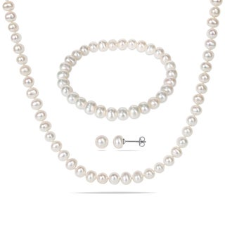 M by Miadora Silvertone White Cultured Freshwater Pearl Jewelry Set (6-7 mm)