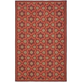Martha Stewart Puzzle Chocolate Cosmos Brown Wool Rug (7'9 x 9'9)