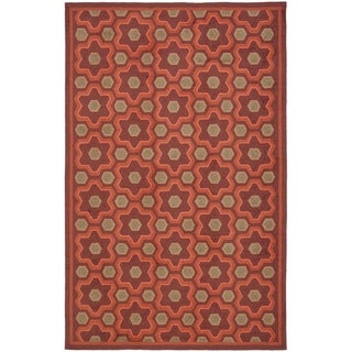 Martha Stewart Puzzle Chocolate Cosmos Brown Wool Rug (8' 6 x 11' 6)