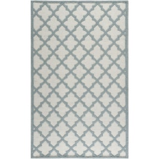 Martha Stewart Vermont Contemporary Ivory/Light-Blue Wool Rug (4' x 6')